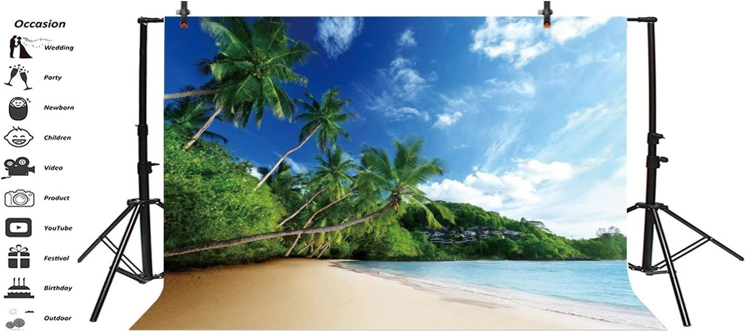 Tropical Beach Palm Trees 10x6.5ft Backdrop Seaside Island Path Blue Sea Skyline Summer Holiday Background Nature Landscape Leisure Vacation Relax Adults Kid Baby Photo Shoot
