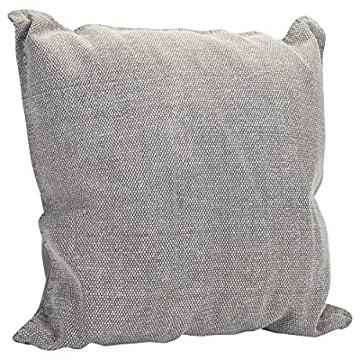 Solid Dhurrie Light Gray 20 x 20 Indoor Outdoor Throw Pillow - Proudly filled and finished in the USA; Made of 100% high quality Polyester fiber materials Throw pillow measures approximately 20 x 20 inches finished seam to finished seam; Features blanket stitching finish Rich colors and pattern design is weather and fade resistant up to 500 hours of direct sunlight; For longer life cover or store when not in use - patio, outdoor-throw-pillows, outdoor-decor - 611p8Eeb8 L. SS400  -