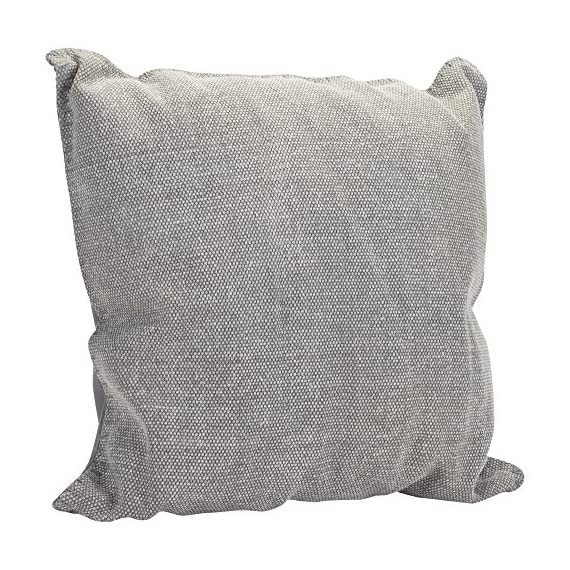 Solid Dhurrie Light Grey 20 x 20 Indoor Outdoor Throw Pillow - Proudly filled and finished in the USA; Made of 100% high quality Polyester fiber materials Throw pillow measures approximately 20 x 20 inches finished seam to finished seam; Features blanket stitching finish Rich colors and pattern design is weather and fade resistant up to 500 hours of direct sunlight; For longer life cover or store when not in use - patio, outdoor-throw-pillows, outdoor-decor - 611p8Eeb8 L. SS570  -