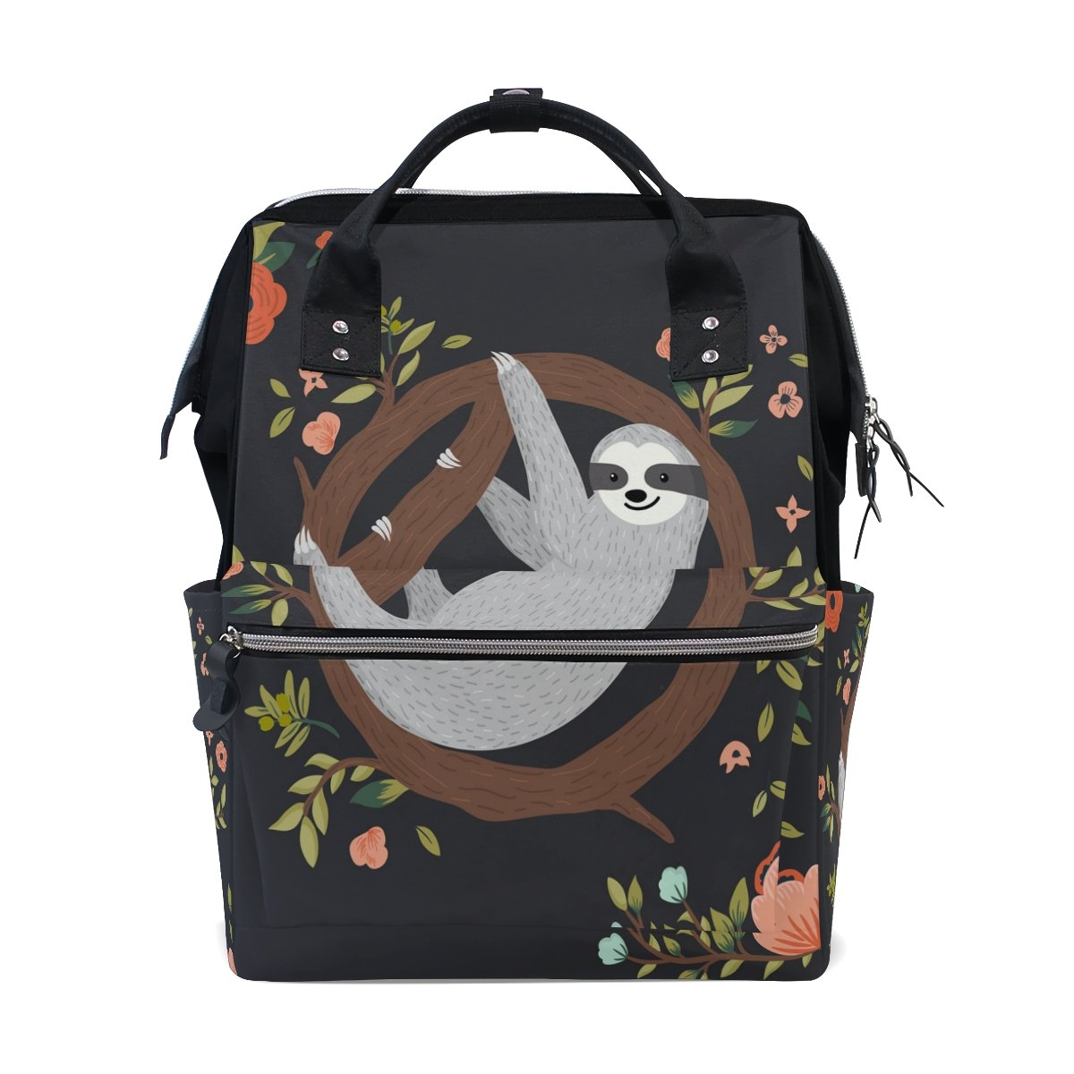 WOZO Cute Sloth Hanging on the Tree Flower Multi-function Diaper Bags Backpack Travel Bag