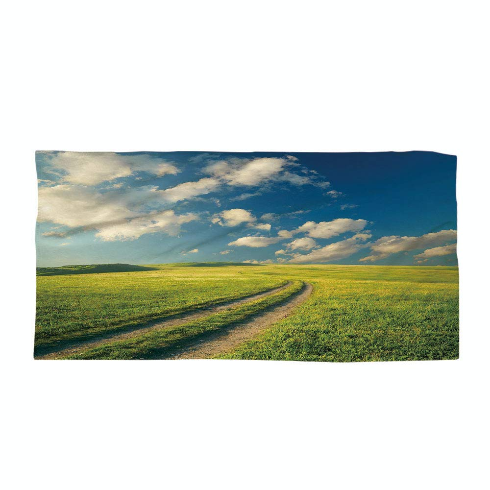 Cotton Microfiber Beach Towel,Nature,Grass Path Clouds Sky Serene Sun Spring Rural Country Panorama Art,Dark Blue Apple Green White,for Kids, Teens, and Adults