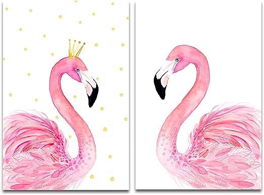 Amazon.com: Purple Verbena Art 2 Panels Couple Flamingos Picture ...