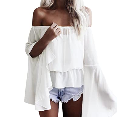 a317abf975693 HARRYSTORE Women Fashion Off Shoulder Chiffon Drawstring Blouse Split Angel  Sleeve Loose Bardot Top T-Shirt Crop Tops  Amazon.co.uk  Clothing