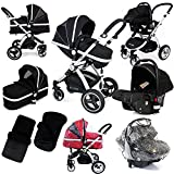 i-Safe System - Black Trio Travel System Pram & Luxury Stroller 3 in 1 Complete With Car Seat + Footmuff + Carseat Footmuff + RainCovers …