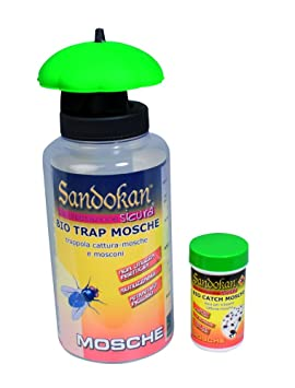 Kit Trampa Ecológica para la eliminación de moscas y tábanos con botella de 3 recargas de alimento atractivo para moscas