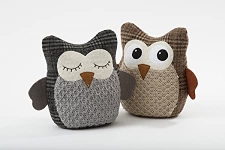 Bon Cute Grey Or Brown Fabric Owl Door Stop (Brown)