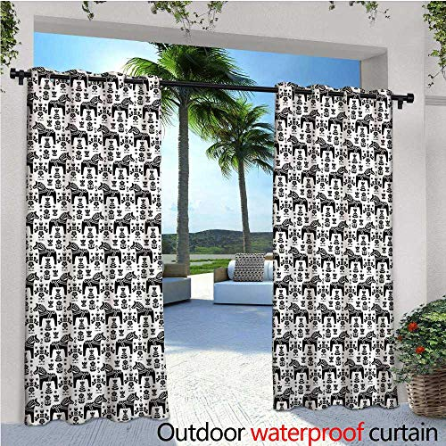 cobeDecor Nordic Balcony Curtains Swedish Folk Art with Dalecarlian Horse Silhouettes and Ornate Flower Motifs Outdoor Patio Curtains Waterproof with Grommets W108 x L108 Black and White