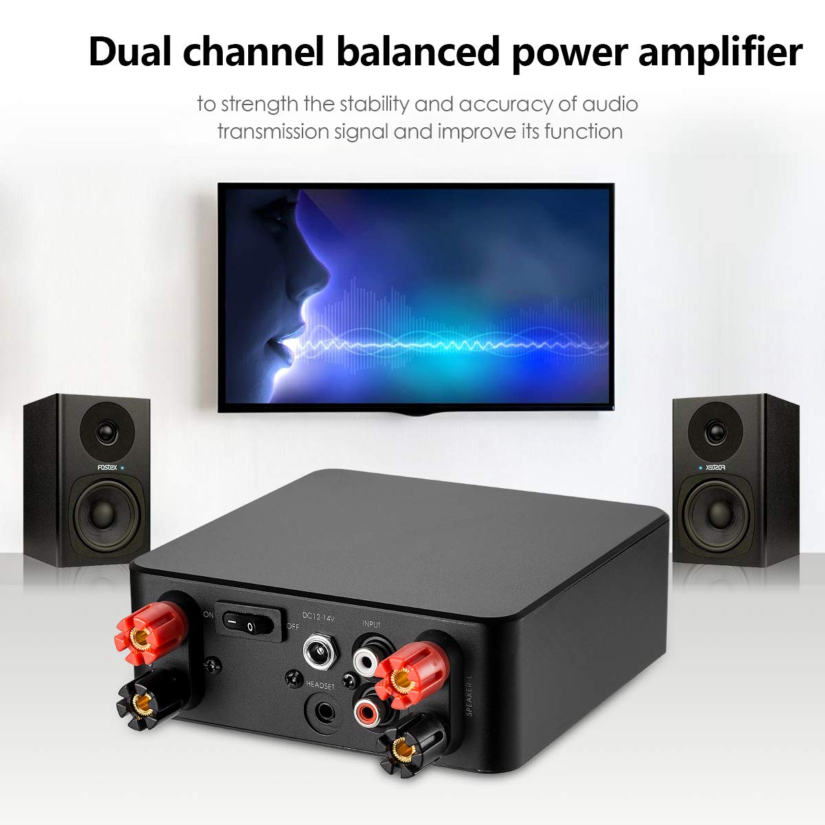 Nobsound Hifi Stereo Power Amplifier Audio Headphone Amp 100w Mosfet 160w 80w2 With 12v 10a Supply Black Home Theater