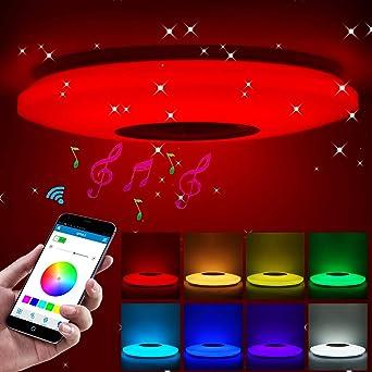 ShangSky - Lámpara de techo led regulable, altavoz RGB con ...
