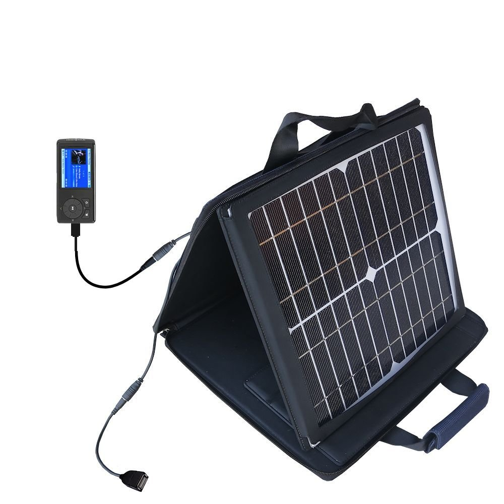 Gomadic SunVolt Powerful and Portable Solar Charger suitable for the Insignia MP3 Player - Incredible charge speeds for up to two devices