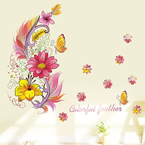 Music Feather Butterfly Pattern Art Decals DIY for Home Living Room Bedroom Color Wall Stickers