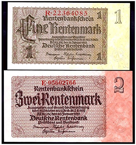 DE 1937 ONLY NAZI GERMAN BANKNOTES w TINTED PAPER (YELLOW or ORANGE)! RARE SO CRISP! Choice Crisp Uncirculated