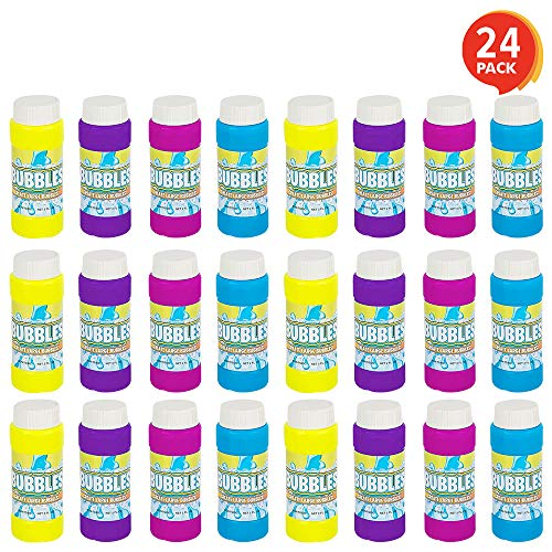 ArtCreativity 3.5 Inch Bubble Blower Bottles with Wands - 24 Pack - Bubble Toy for Kids with 2oz of Solution - Outdoor Summer Fun - Birthday Party Favors, Supplies for Boys and Girls - Assorted Colors