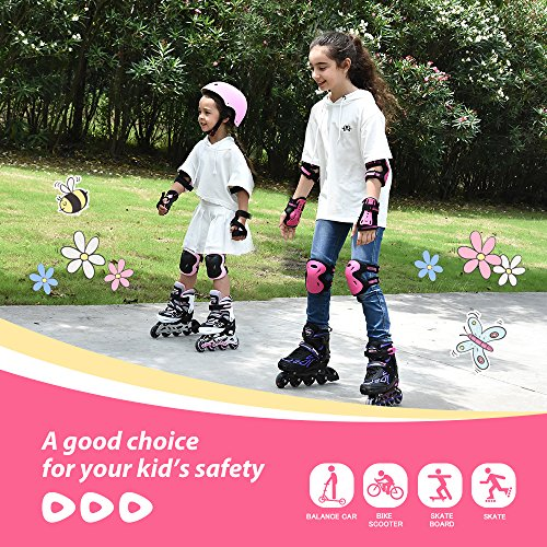 Inline Roller Skating Knee Pads Elbow Pads and Wrist Guards for Kids Rollerblades Skateboarding Balance Bikes 2PM SPORTS Girls Pink Protective Gear Set and Scooters Cycling