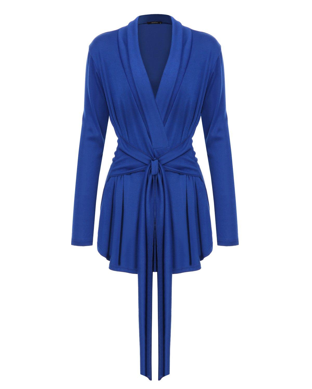 Mixfeer Women's Long Sleeve Open Front Lightweight Drape Wrap Travel Cardigan Sweater With Waist Belt