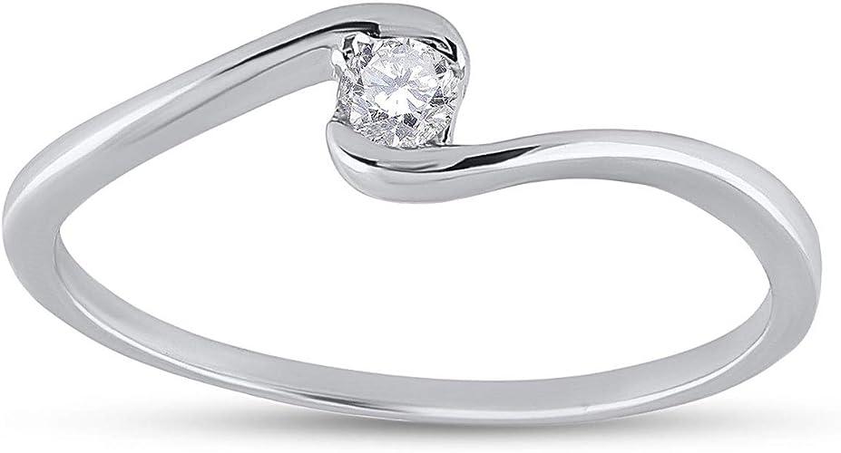 1//20 cttw, 3 Diamond Promise Ring in 14K White Gold Size-5 G-H,I2-I3