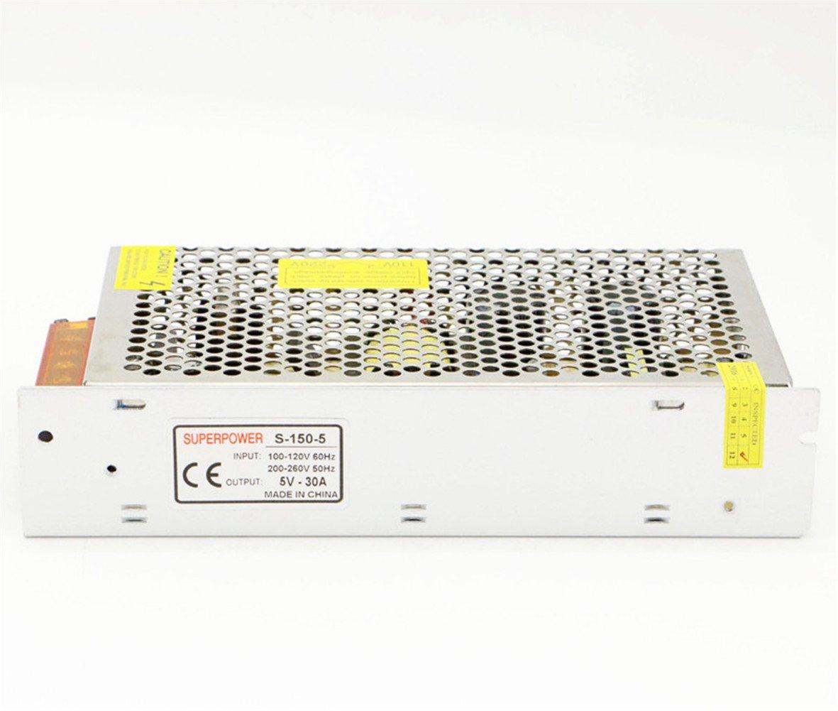 5V 30A 150W Power Supply Transformer Adapter AC 110V/220V to DC 5V 30amp Converter Or CCTV Camera/Security System/LED Strip Light/Radio/Computer Project by Baiyouli (Image #3)