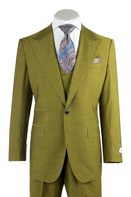 1960s Mens Suits | 70s Mens Disco Suits Tiglio Rosso Luca Tea Green Wide Leg Pure Wool Suit & Vest 876601/4107 $399.00 AT vintagedancer.com