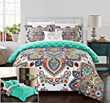 Chic Home 8 Piece Irsia Reversible Boho-inspired print and contemporary geometric patterned technique Queen Bed In a Bag Comforter Set Aqua