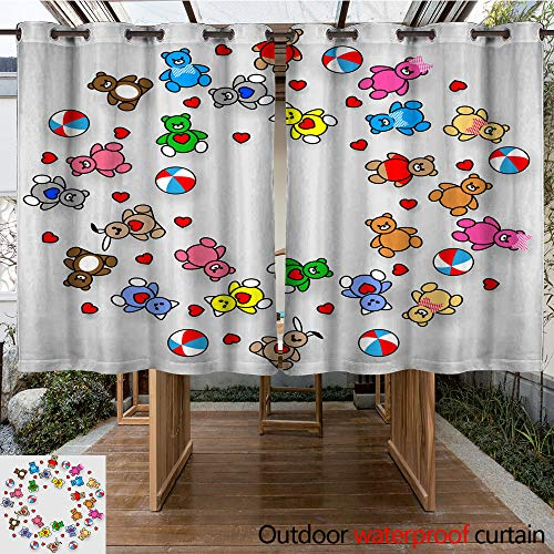 WinfreyDecor Home Patio Outdoor Curtain Round Toys Pattern Vector Illustration EPS for Sticker Label or Price tag W63 x ()