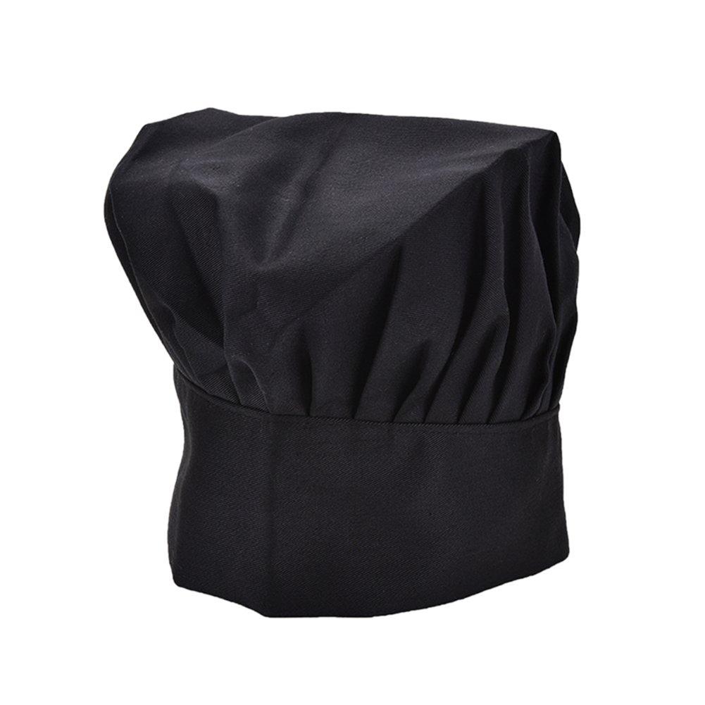 Ming Chef Chapeau Bonnet Elastique R/églable Chapeau de Tissu G/âteau Champignon pour Cuisine Restauration Salle /à Manger Barre Caf/é H/ôtel Noir