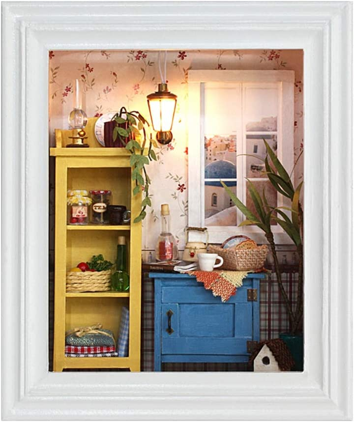 DIY Dollhouse Miniature Kit Photo Frame, Wooden Mini Dollhouse Model with Furniture and LED Light, Small Size Decoration for Home Birthday Gifts Kids Toy