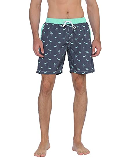 b6adbed0c9 Nonwe Men's Board Shorts Quick Dry Flamingo Printed Drawsting Swim Trunks  Black 28