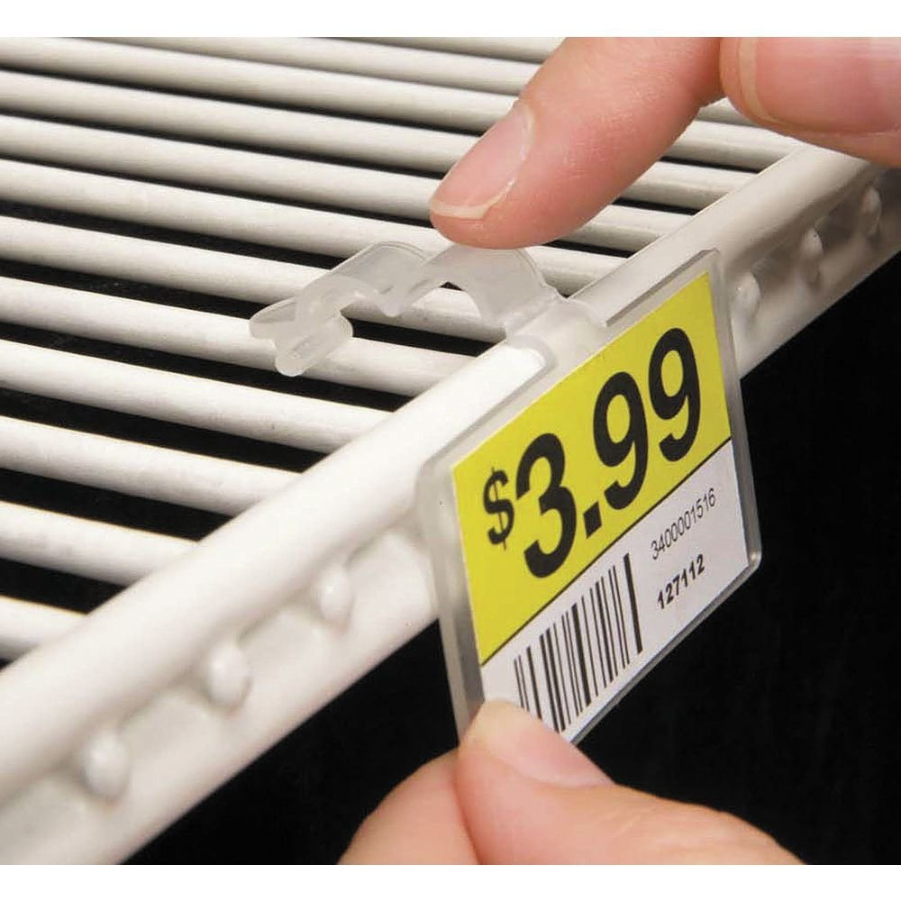 """Fold-N-Hold Clear Plastic Double-Wire Shelf Label Holder With Snap Lock Closure - 2 1/4""""L x 1 1/4""""H"""