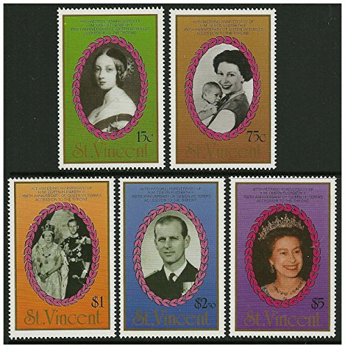 Queen Elizabeth II stamps issued in 1987. 5 stamps Scott 1079-1083 St Vincent / Mint and unmounted ()