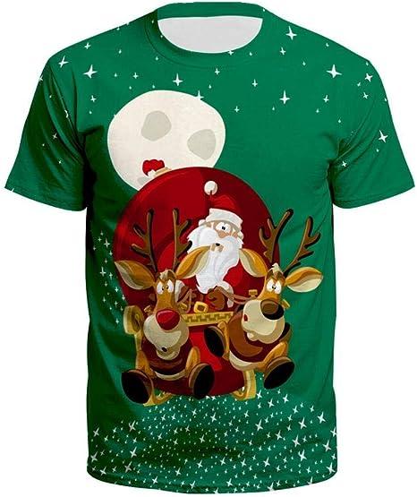 2019 Camiseta FEA de Navidad para Mujeres Europeas y Americanas Camiseta Estampada de Santa Claus con Estampado Holgado Camiseta para Hombres y ...