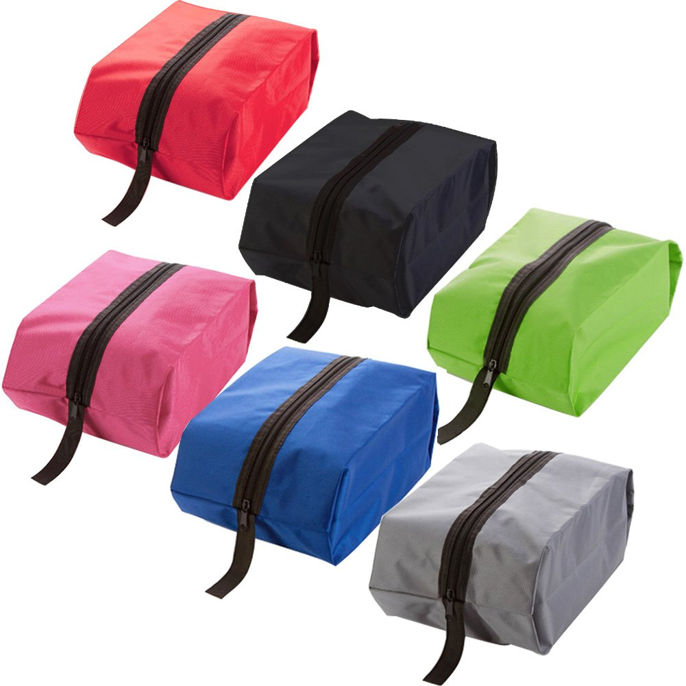 AVESON Pack of 6 Portable Waterproof Nylon Travel Shoe Bags Organizer Storage Tote Bag with Zipper Closure, Small (Multicolor)
