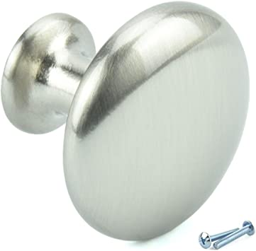 34MM POLISHED CHROME OVAL CABINET CUPBOARD DRAWER KITCHEN DOOR KNOB PULL HANDLES