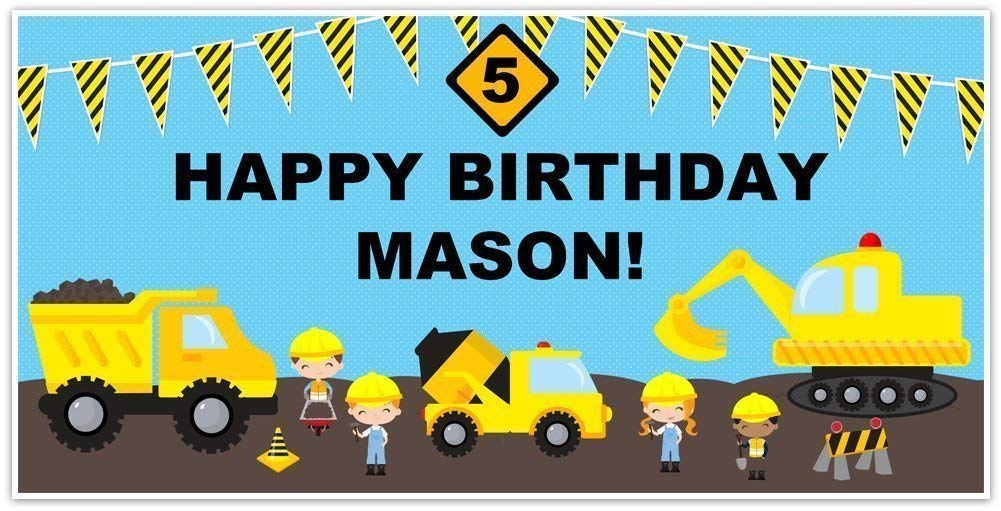 Under Construction Birthday Banner Personalized Party Decoration