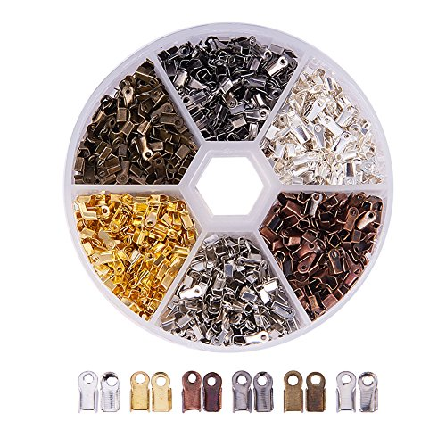 - PandaHall Elite About 1380 Pcs Iron Fold Over Cord Ends Terminators Crimp End Tips for Leather 3mm for Jewelry Making 6 Colors