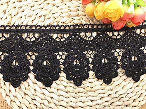 9.5CM Width Europe Floral Venise Pattern Inelastic Embroidery Trims,Curtain Tablecloth Slipcover Bridal DIY Clothing/Accessories.(2 Yards in one Package) (Black)