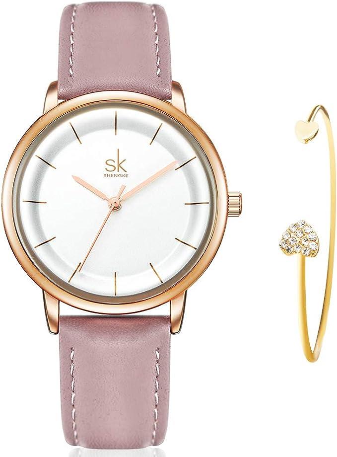 SHENGKE Women Watch Leather Strap Quartz Fashion Ultra Thin Ladies Watch Gift Set for Women with Bracelet Gift reloj de Mujer