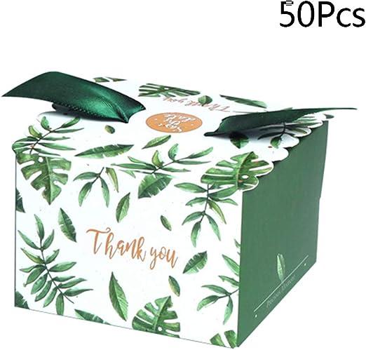 Manyo. Caja para Caramelos de Boda, Bolsa de Regalo de Papel – Hoja Verde – Bolsas de Regalo para Bolsas de Regalo para Bautizo, Fiesta de Navidad, cartón, 50 Pcs, 2,56 ×2,56 ×1,77 in: Amazon.es: Hogar