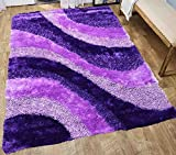 Shimmer Shaggy Shag Fluffy Fuzzy Furry Modern Contemporary High Pile Soft 3D Living Room Bedroom Area Rug Carpet 5×7 Purple Lavender Lilac Mauve Plum Sale Discount Cheap – Signature BLD 281 Purple For Sale