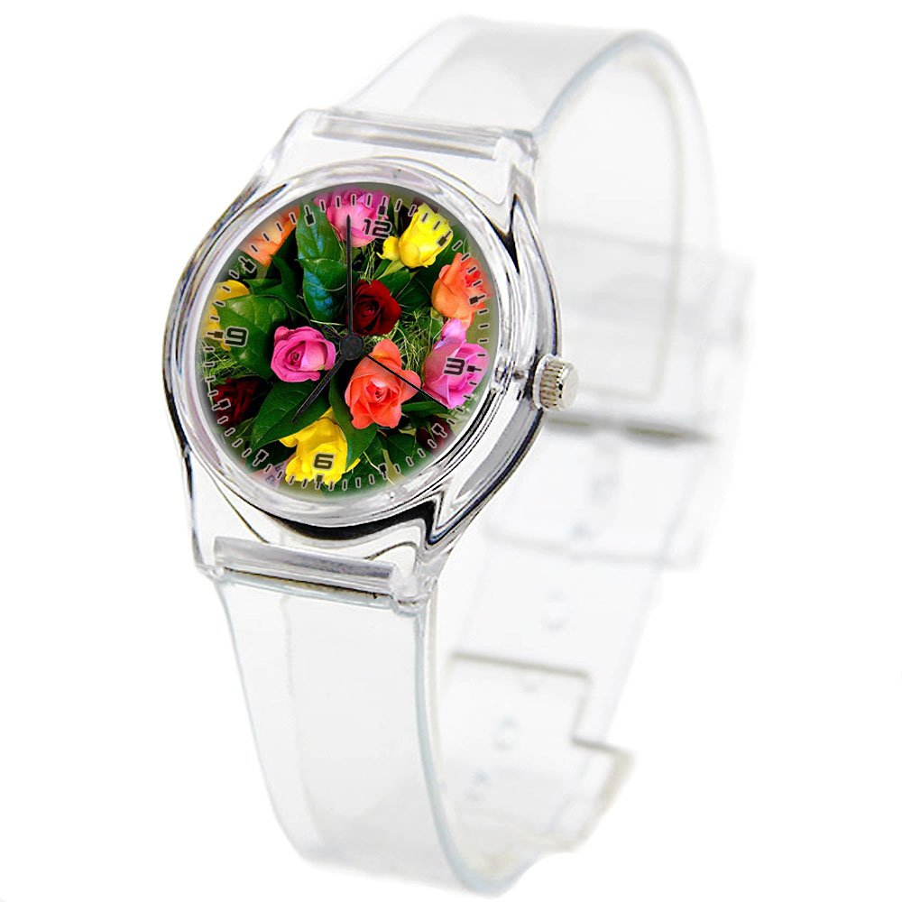 Personality Transparent Wristwatch Transparent Strap Summer Decoration Woman Child teacher Teen Young Girls Children Kids Watches Colorful Flower-192.floribunda, yellow rose, pink flower