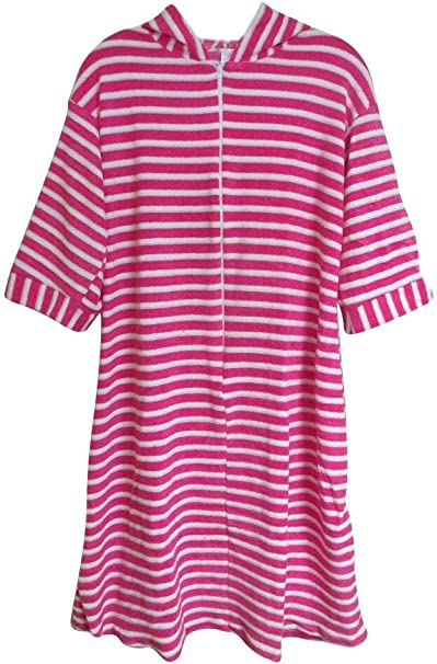 Sizes 4-12 Komar Kids Ocean Print Cotton Hooded Terry Robe Cover Up