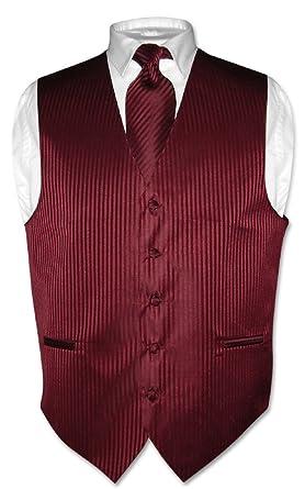 9a4cc74b13 Vesuvio Napoli Men's Dress Vest & NeckTie BURGUNDY Vertical Striped Design Neck  Tie Set ...