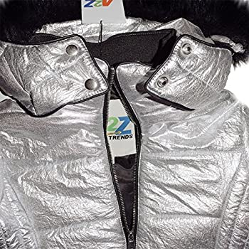 Girls Jacket Kids Padded Silver Puffer Bubble Fur Collar Quilted Warm Thick Coat