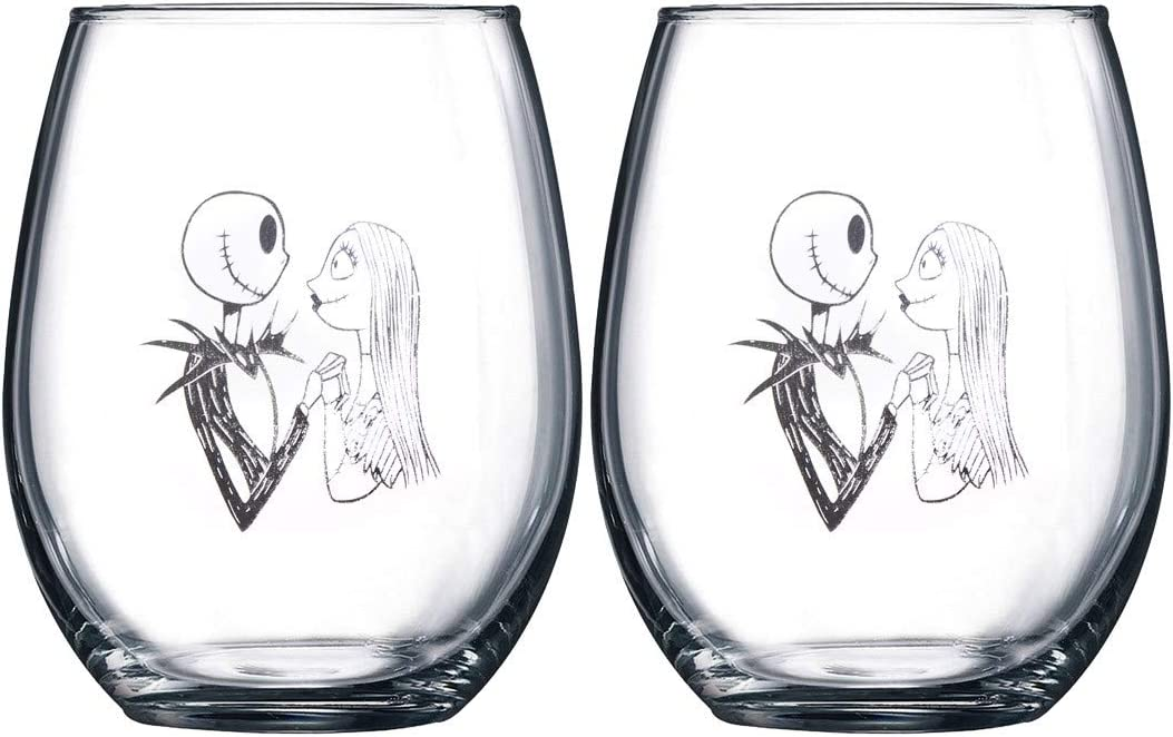 Set of Jack Skellington & Sally wine glasses from our
