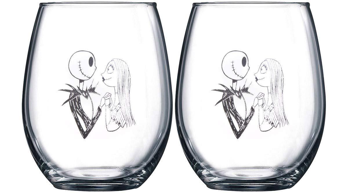 Nightmare Before Christmas Collectible Wine Glass Set (Jack & Jack ...