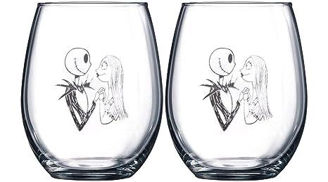 nightmare before christmas collectible wine glass set jack sally