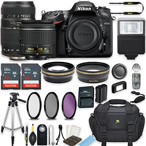Nikon D7200 24.2 MP DSLR Camera (Black) w/AF-P DX NIKKOR 18-55mm f/3.5-5.6G VR Lens & Tamron 70-300mm f/4-5.6 Di LD Lens Bundle includes 64GB Memory + Filters + Deluxe Bag + Accessories