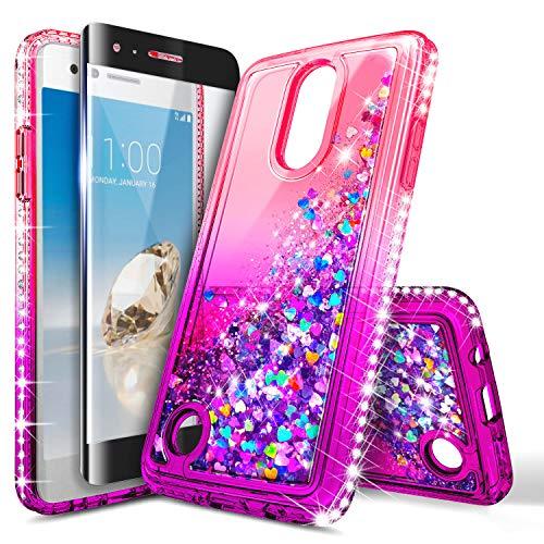 LG Aristo 3, Aristo 2/Aristo 2 Plus/Tribute Dynasty/Zone 4/Rebel 3/Rebel 4 LTE/Phoenix 4/Fortune 2/Risio 3/K8 2018 Case w/[Tempered Glass Screen Protector] for Girls, NageBee Glitter Liquid Case -Pink (Lg Tribute Pink Phone Case)