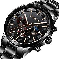 CRRJU Men's Business Casual Chronograph Quartz Waterproof Wristwatch (Black Stainless Steel Strap)