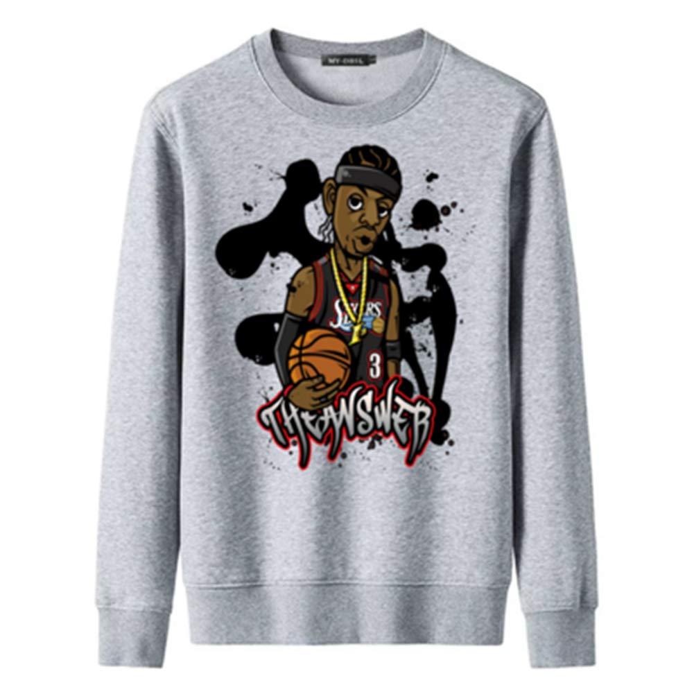 Pull Col Rond # 3 Allen Iverson dimpression De Bande Dessin/ée Gris,#2XL Basket Sweat-Shirt /À Manches Longues YDYL-LI Automne Et Hiver