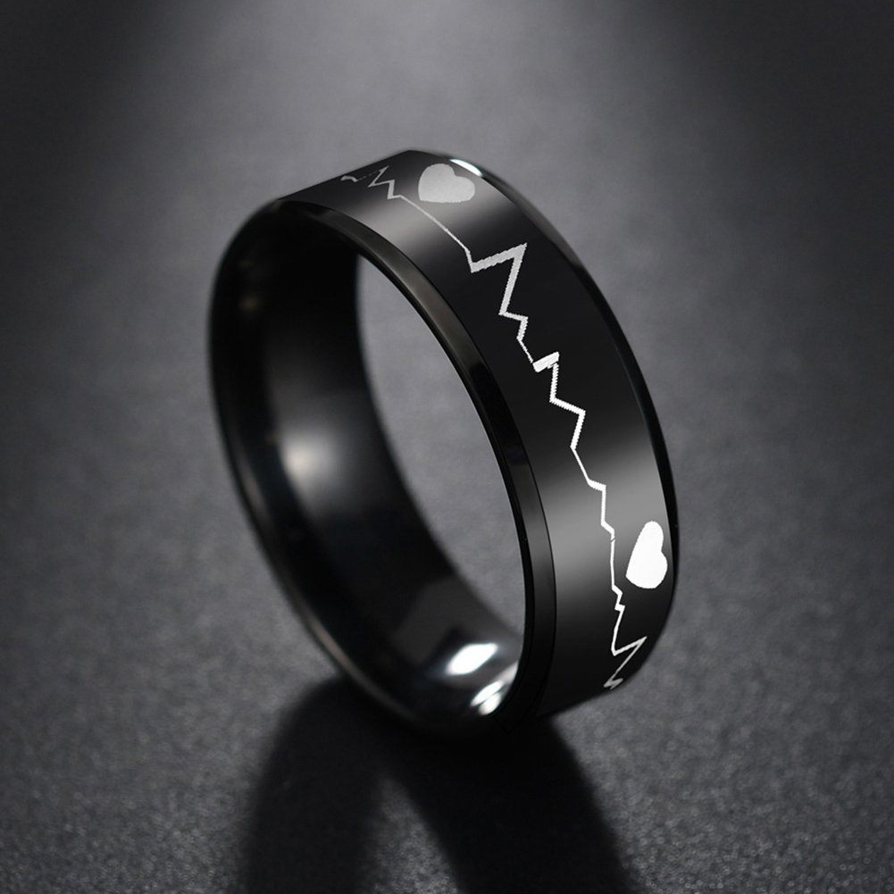 angel3292 Clerance Deals!!Fashion Men Heartbeat Band Finger Ring Party Club Jewelry Birthday Gift Black US 6